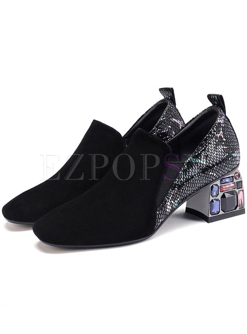 Chic Color-blocked Slit Zipper Square Heel Shoes