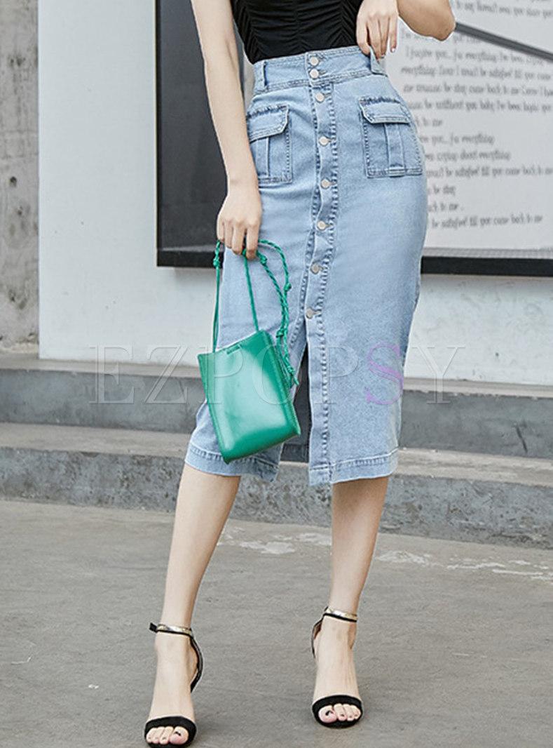 Denim High Waist Single-breasted Sheath Skirt