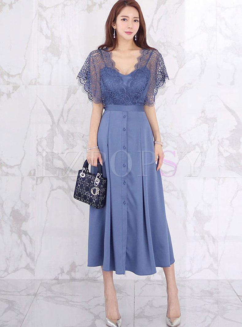 V-neck Transparent Lace Patchwork Big Hem Dress
