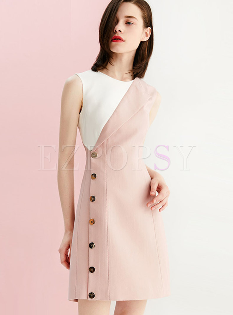Color-blocked Sleeveless Single-breasted Sheath Dress