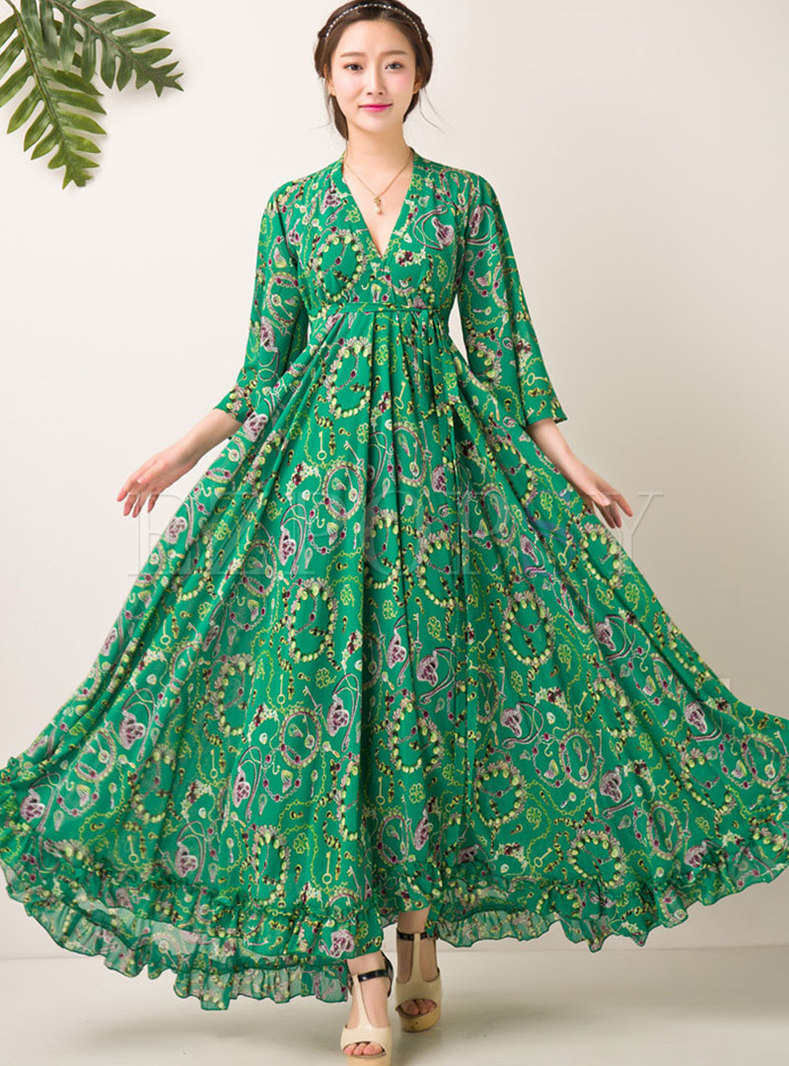 Bohemia Print V-neck Long Sleeve Hem Maxi Dress