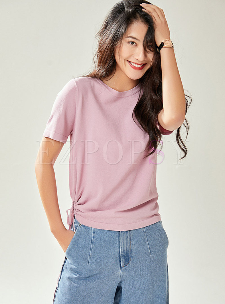 Pure Color O-neck Tied Knitted Top