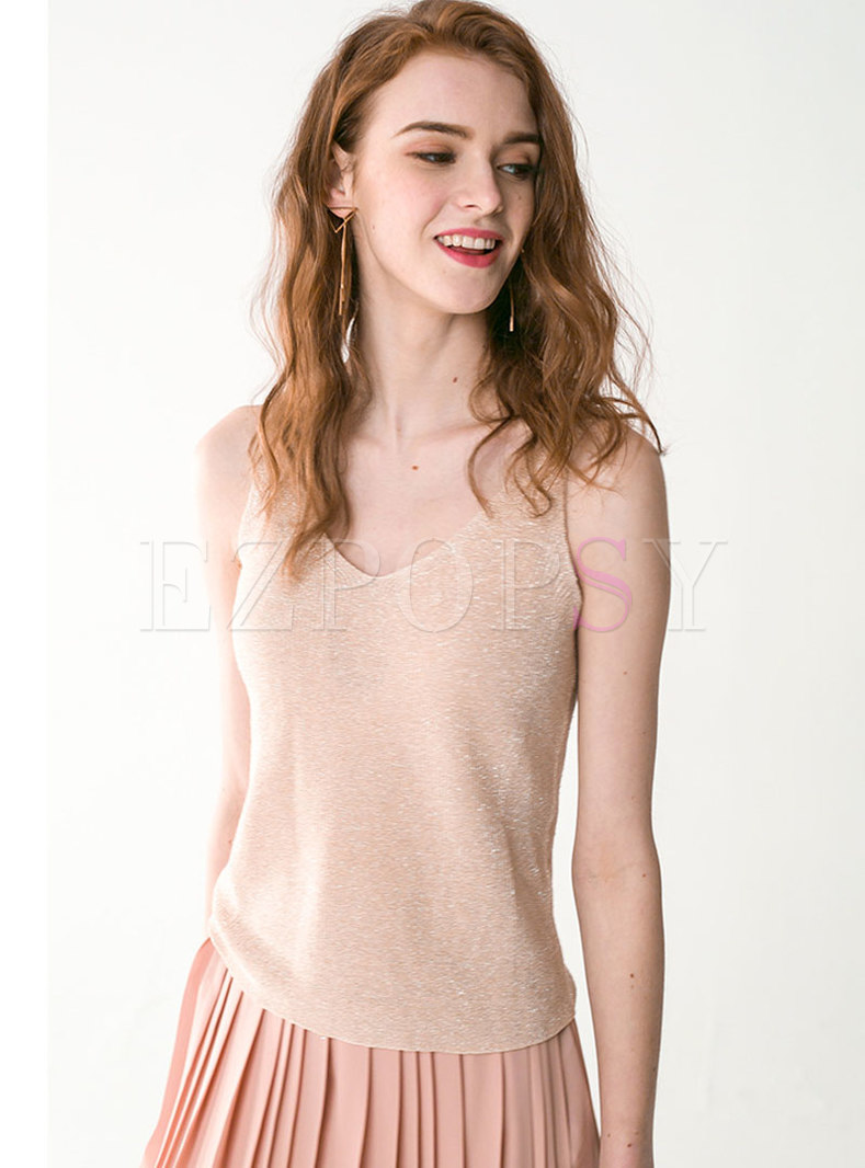 Brief V-neck All-matched Casual Cami