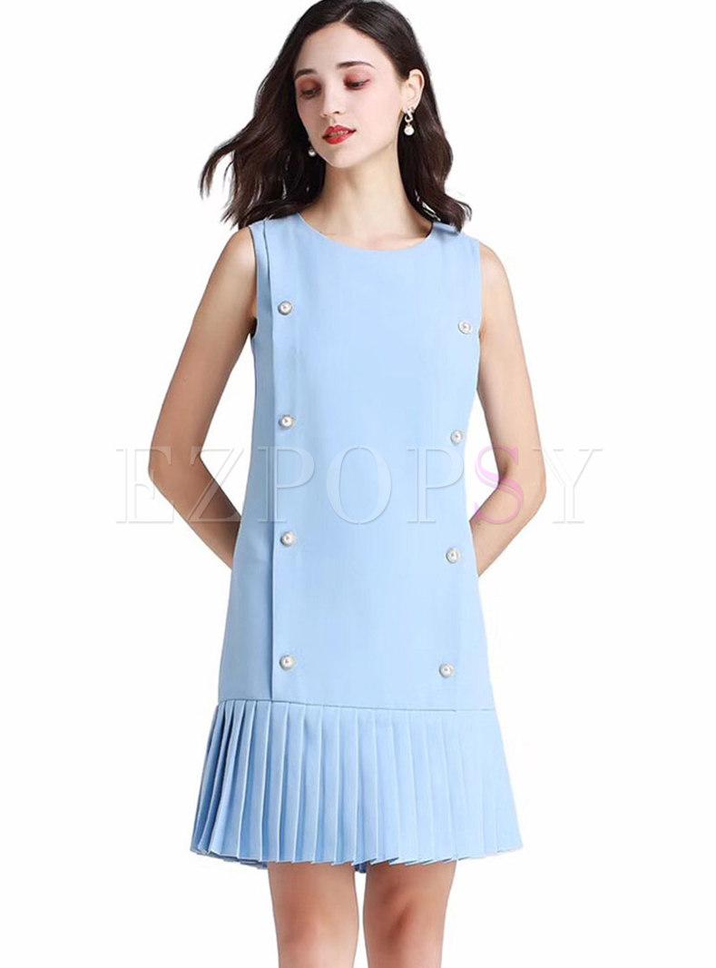 Crew Neck Sleeveless Pleated Mini Dress