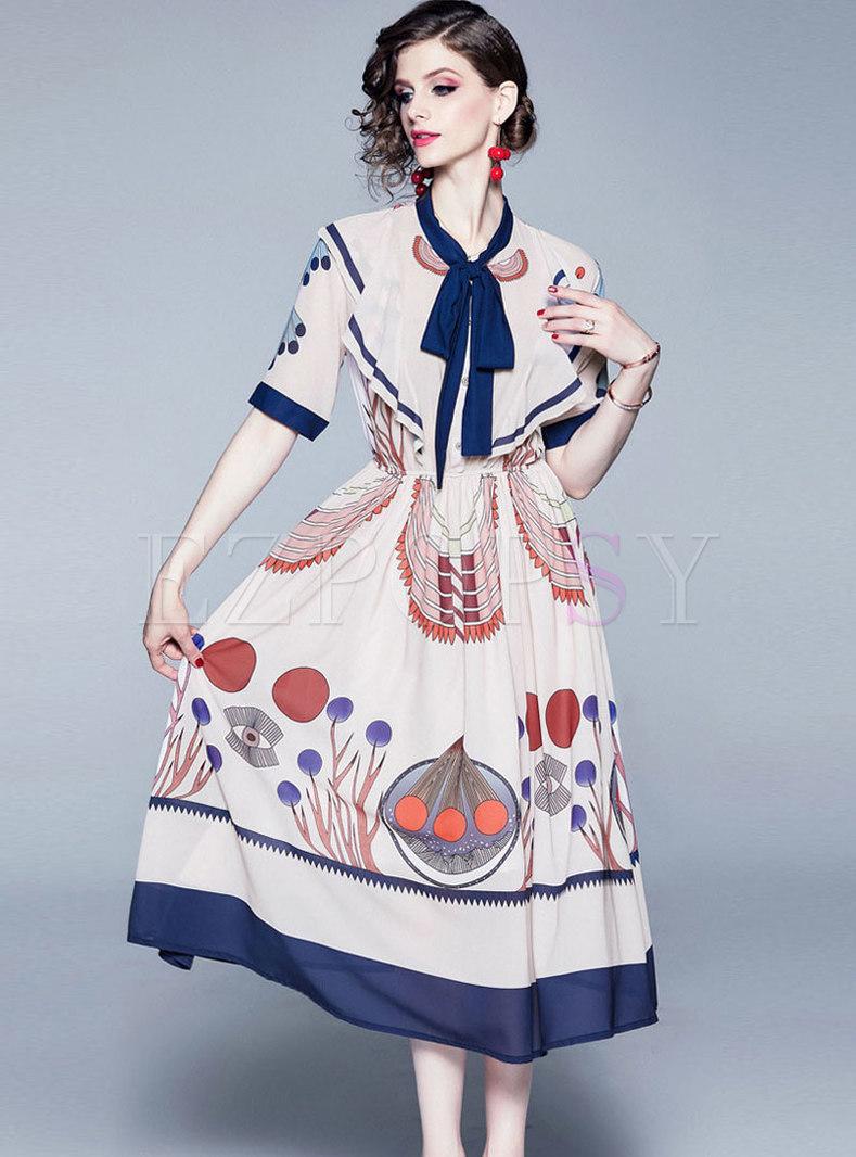 Court Ribbon Falbala Pleated Chiffon A Line Dress