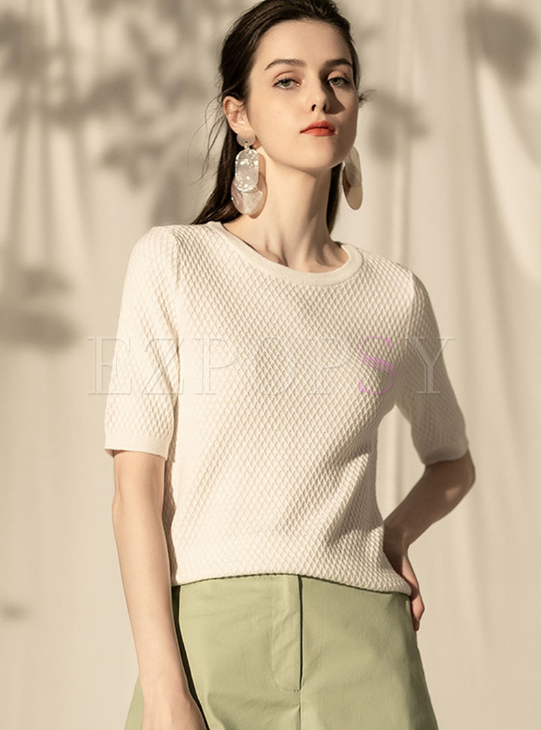 Pure Color O-neck Loose Pullover Sweater