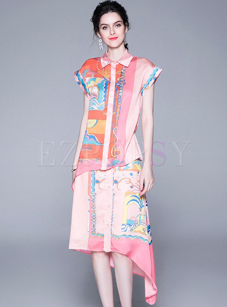 Stylish Lapel Print Blouse & Casual Asymmetric Skirt