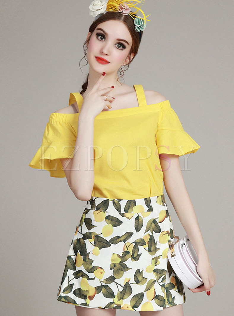 Chic Slash Neck Yellow Top & Sweet Print Shorts