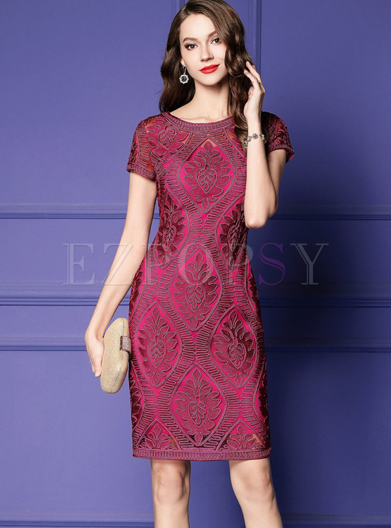 High Waist Pure Color Splicing Plus-size Bodycon Dress