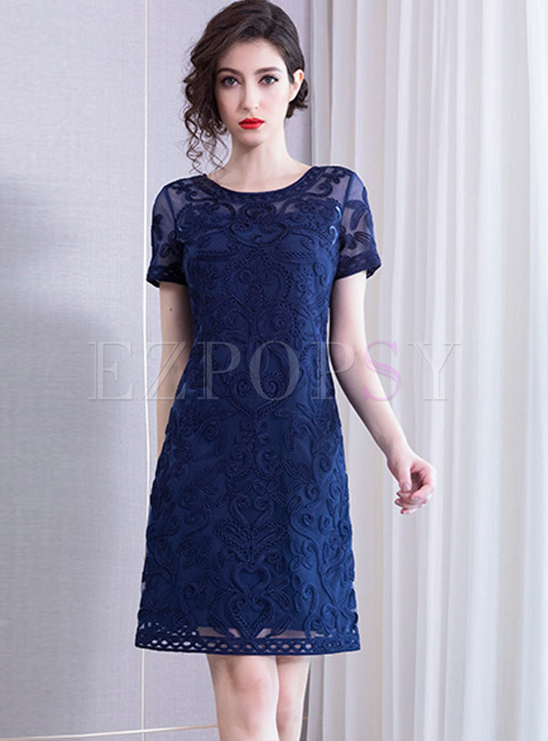 Crew Neck Embroidered Sheath Dress