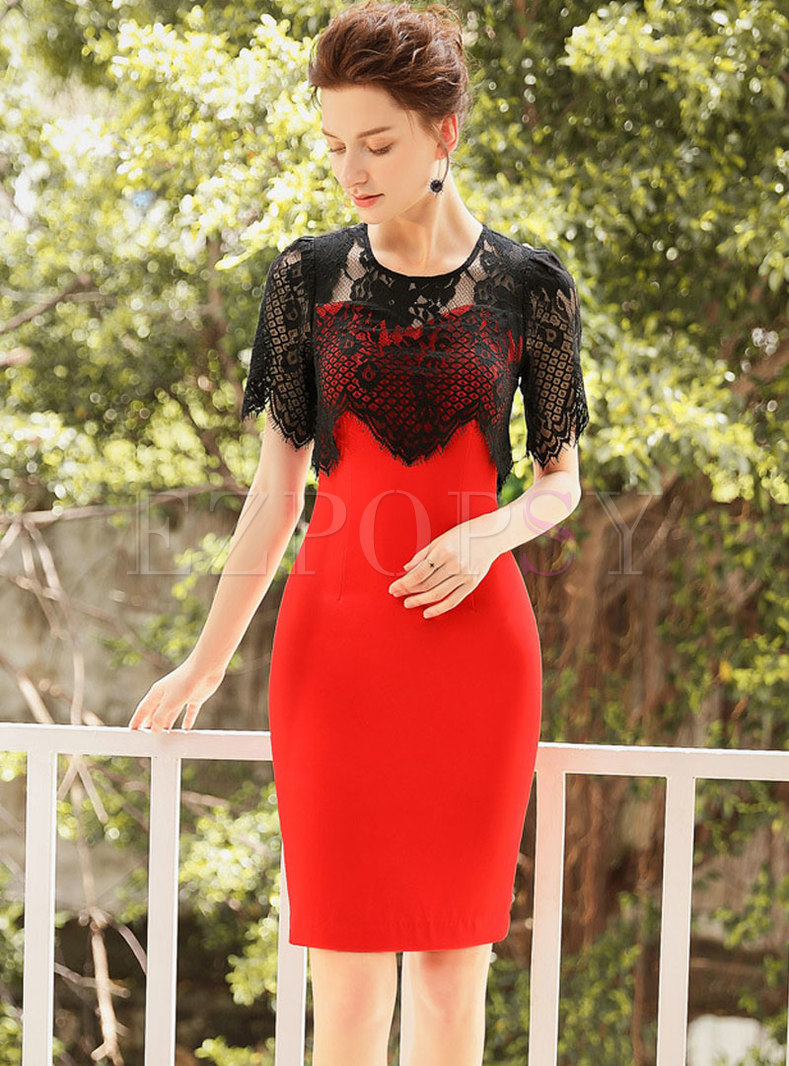O-neck Lace Splicing Red Split Bodycon Dress