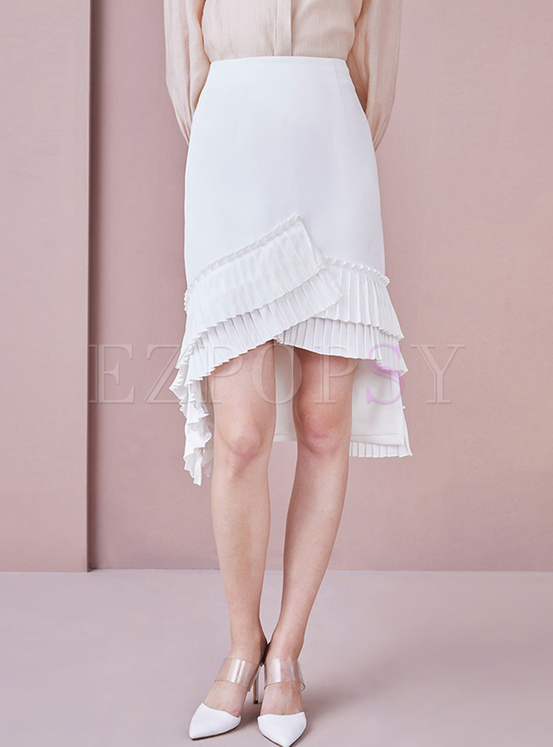 Chic Asymmetric Hem Splicing Sheath Skirt