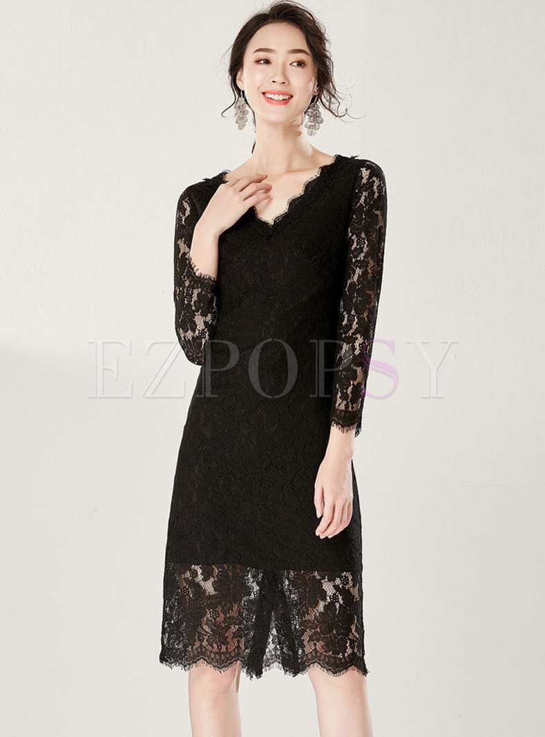 Stylish V-neck Pure Color Lace Perspective Sheath Dress