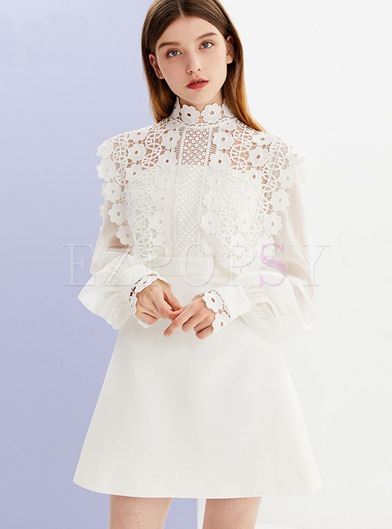 Lace Neckline Mesh Sleeves Sweet Waist Skater Dress