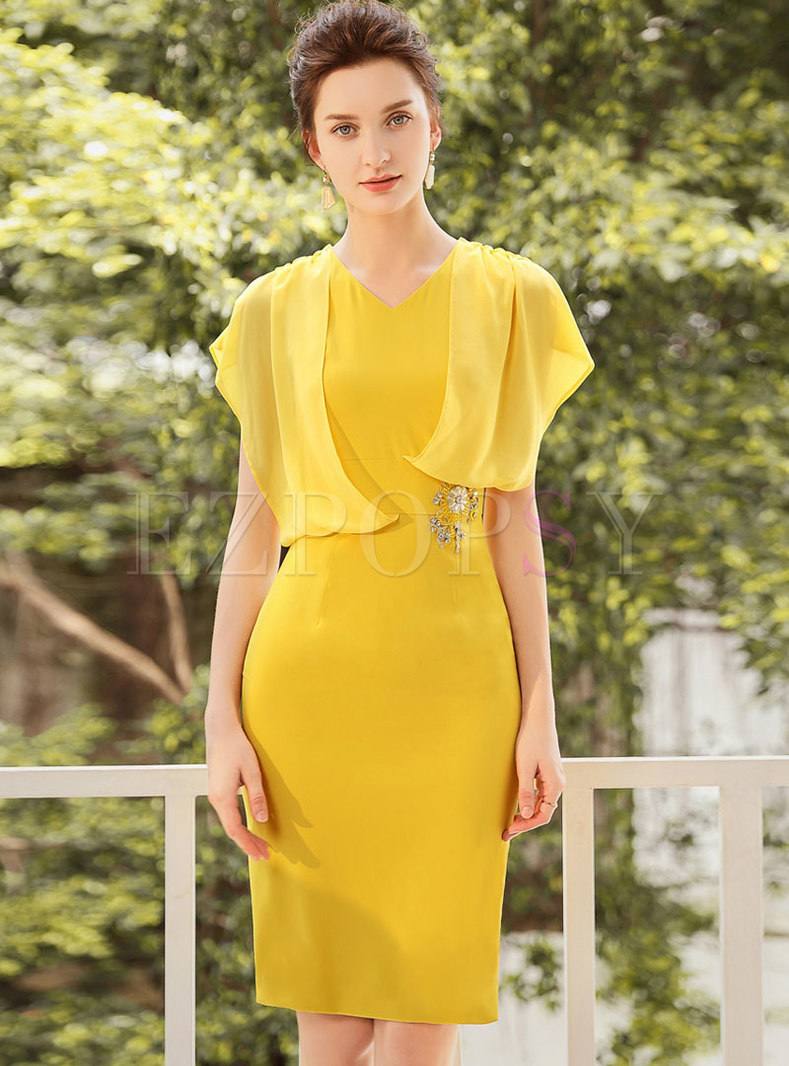 Pure Color Diamond-studded Gathered Waist Bodycon Dress
