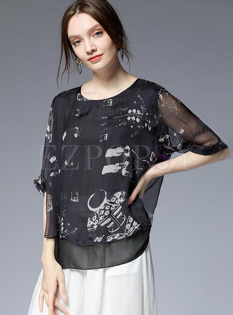 Black Print Plus Size Splicing Asymmetric Blouse