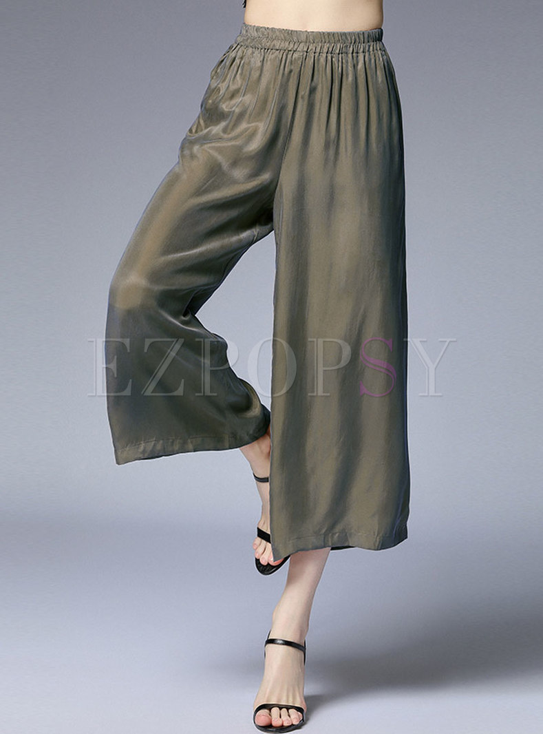 Casual Pure Color Summer Loose Wide Leg Pants