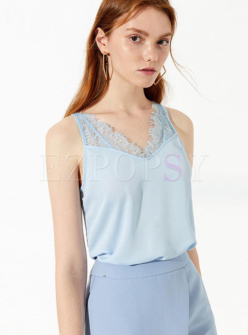Solid Color V-neck Lace Splicing Camis