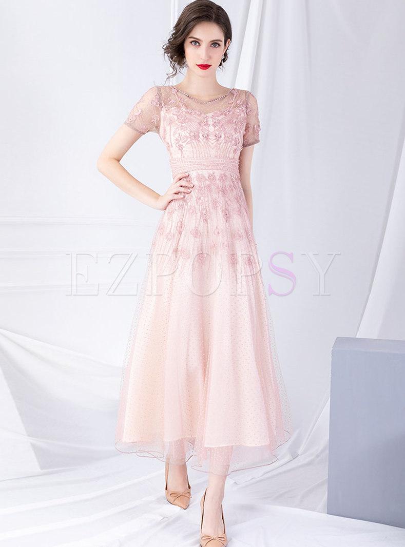 Mesh Beaded High Waist Perspective Maxi Dress