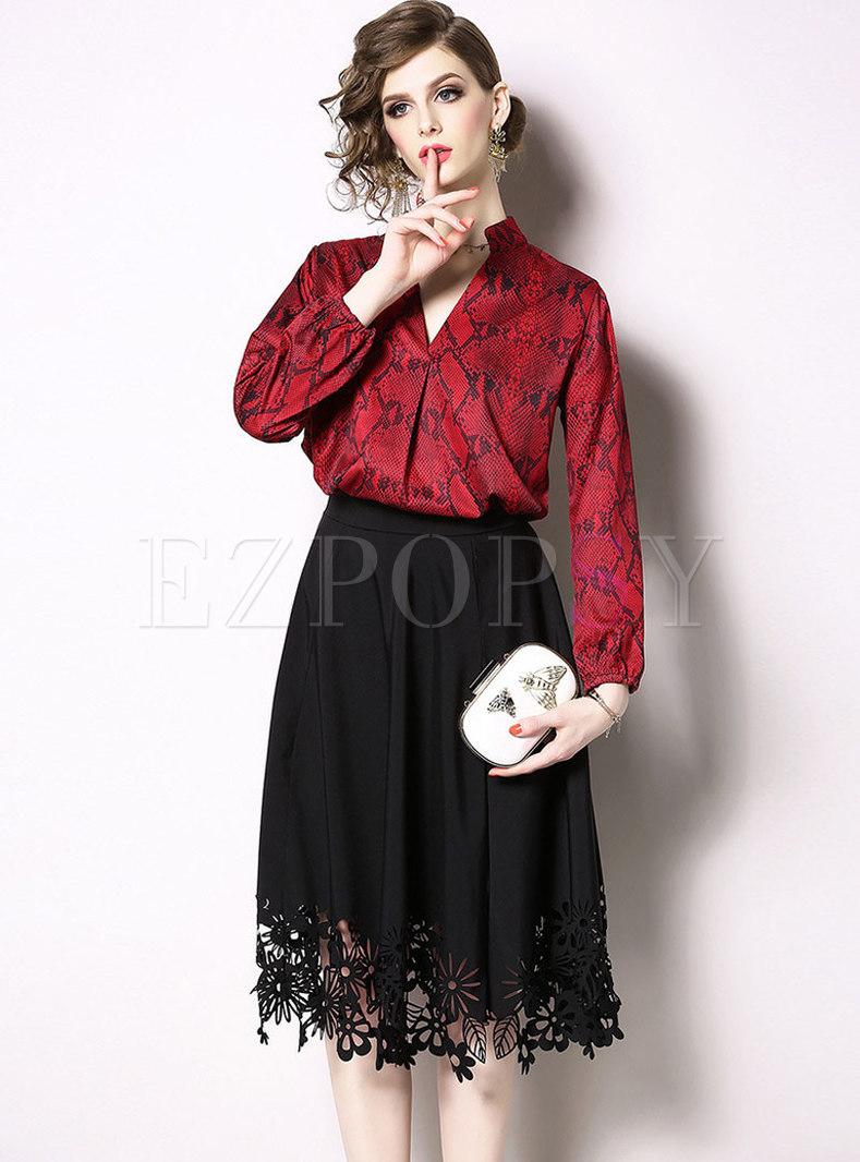 Chic V-neck Print Blouse & Black Hollow Out Skirt