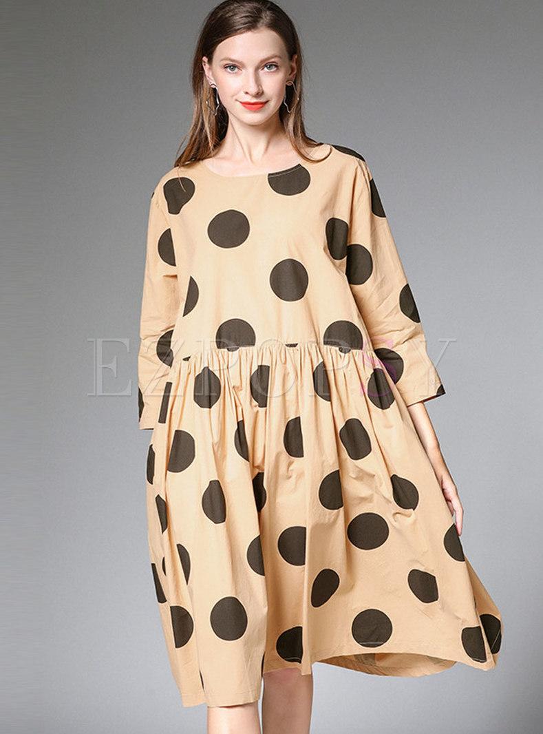 Casual Plus Size Polka Dot Pleated Shift Dress