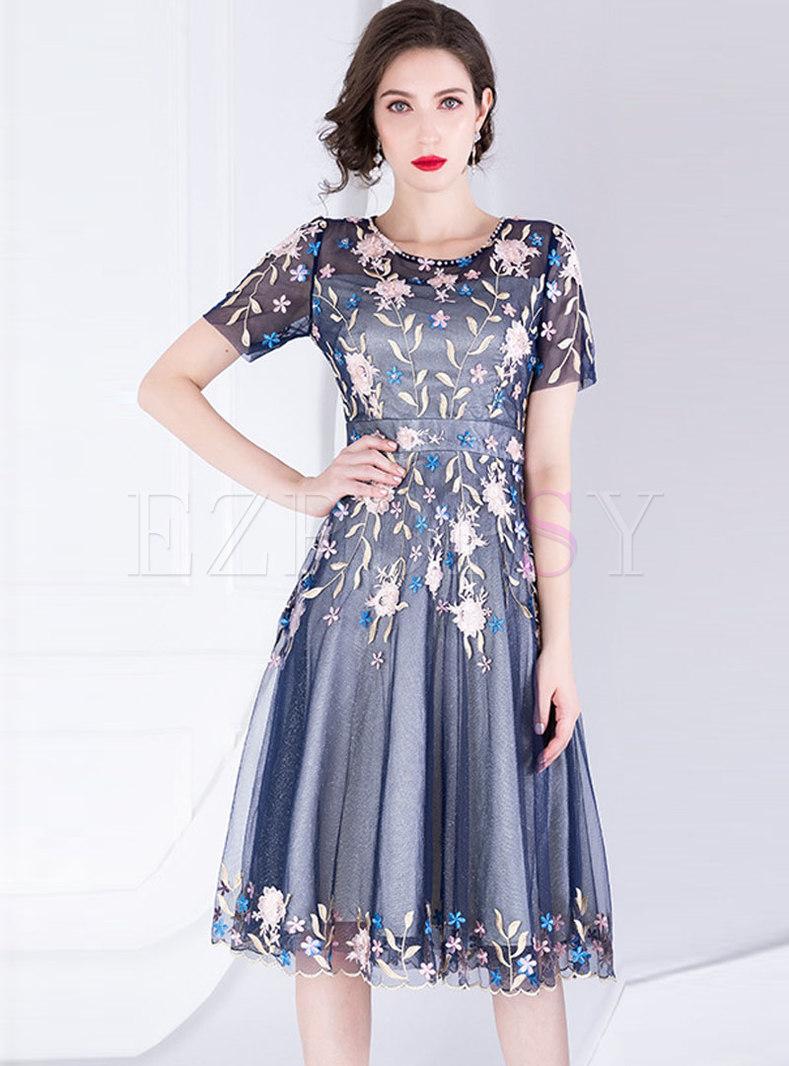 Mesh Embroidered Beading Slim Skater Dress