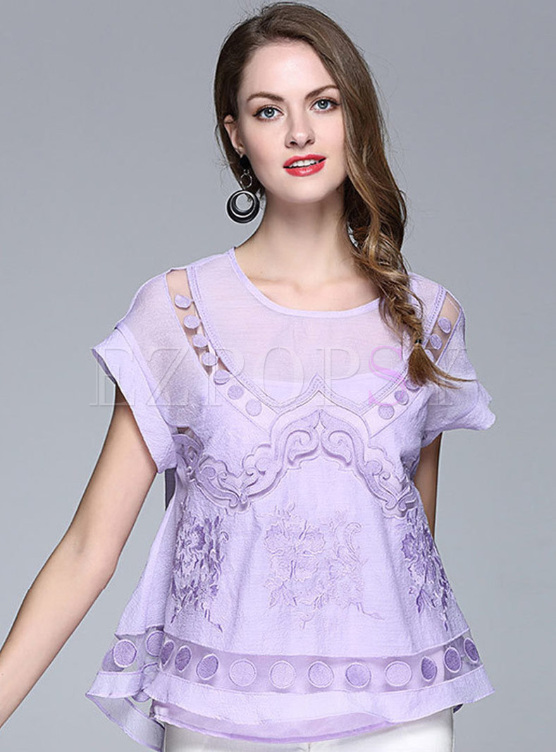 Summer Pure Color Embroidered Hollow Out T-shirt