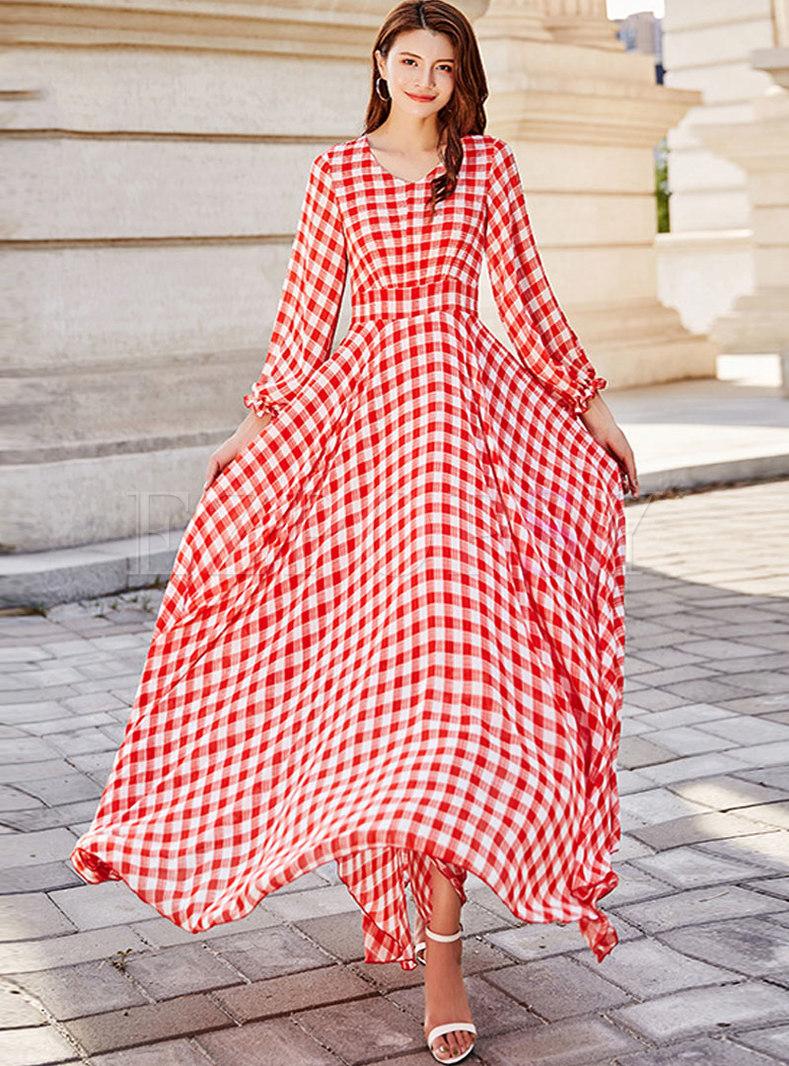 ELegant Plaid Summer Gathered Waist Slim Maxi Dress