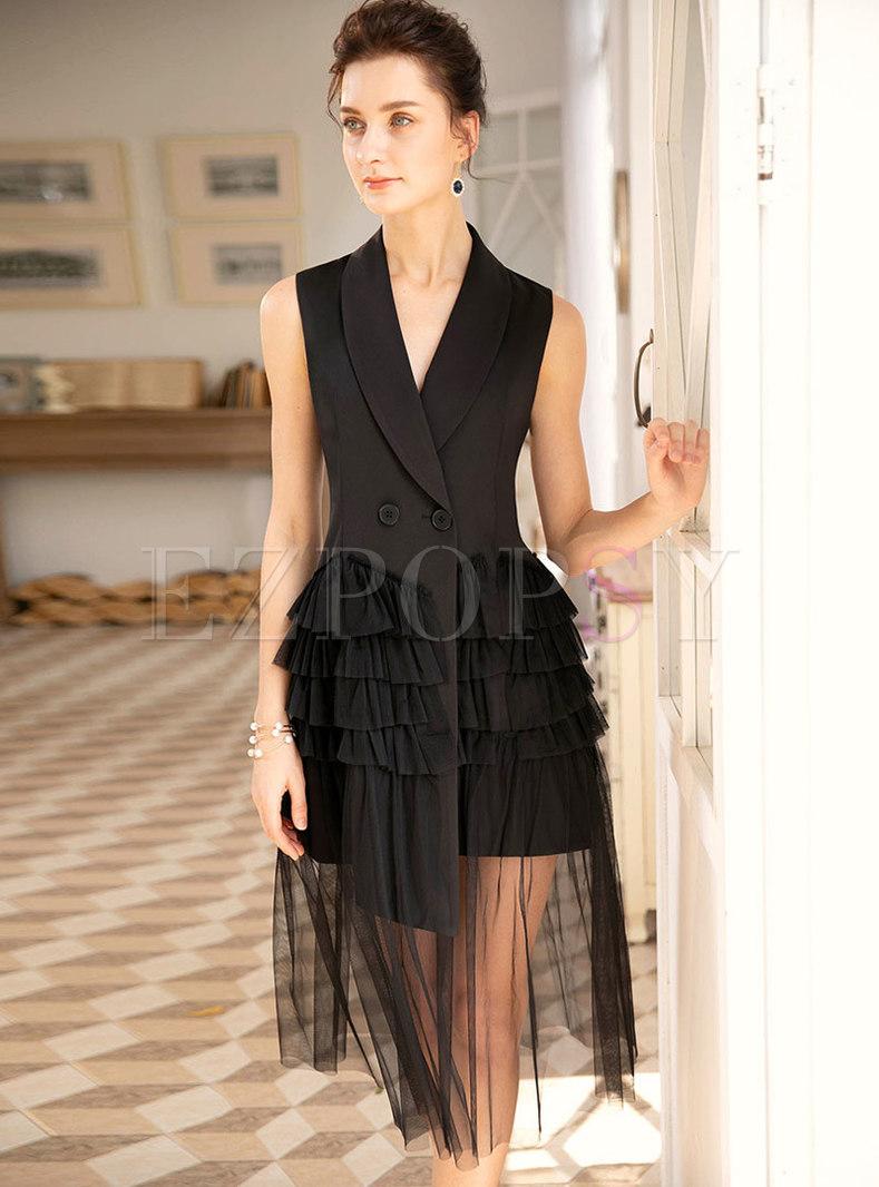 Elegant Lapel Black Mesh Splicing Sleeveless Skater Dress