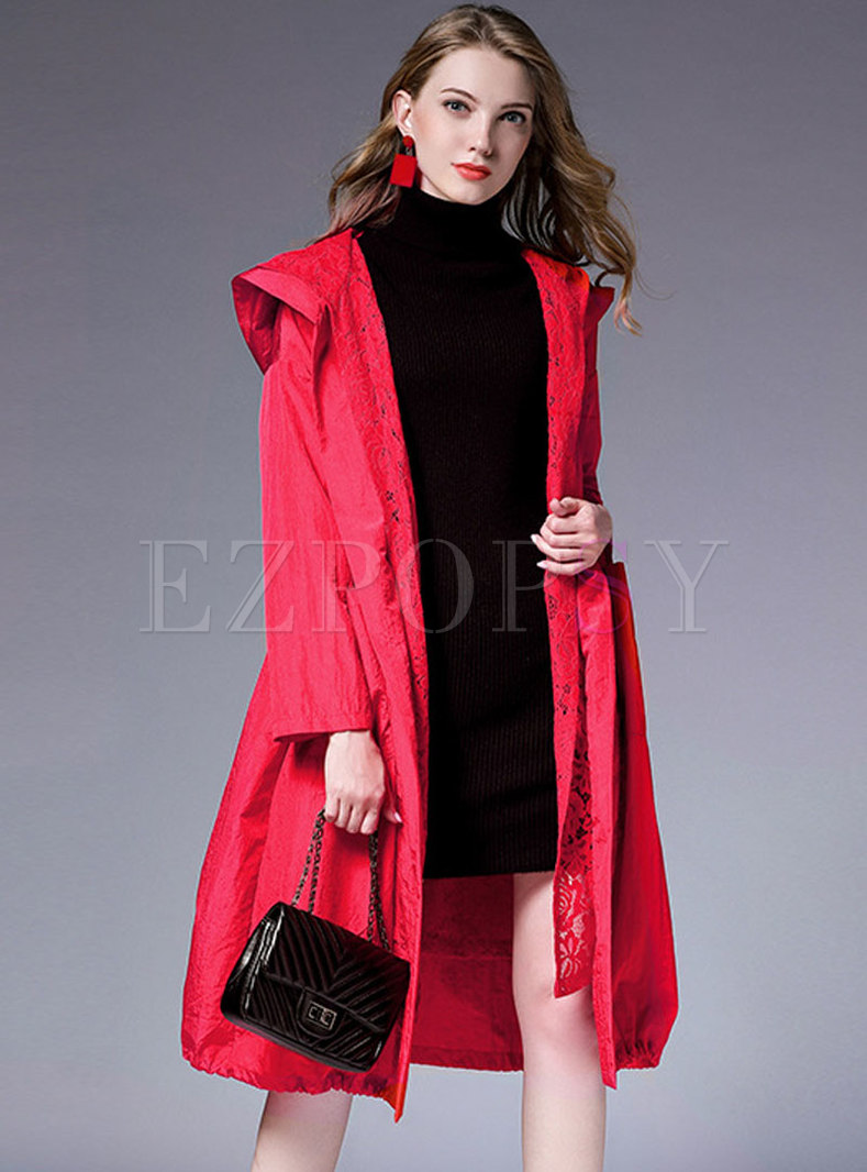 Plus Size Hooded Pure Color Waist Trench Coat