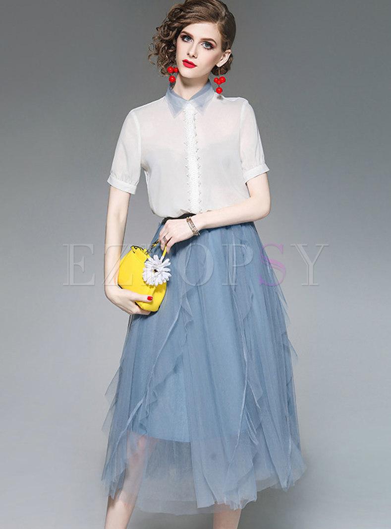 Chic See-though Blouse & Asymmetric Mesh Skirt