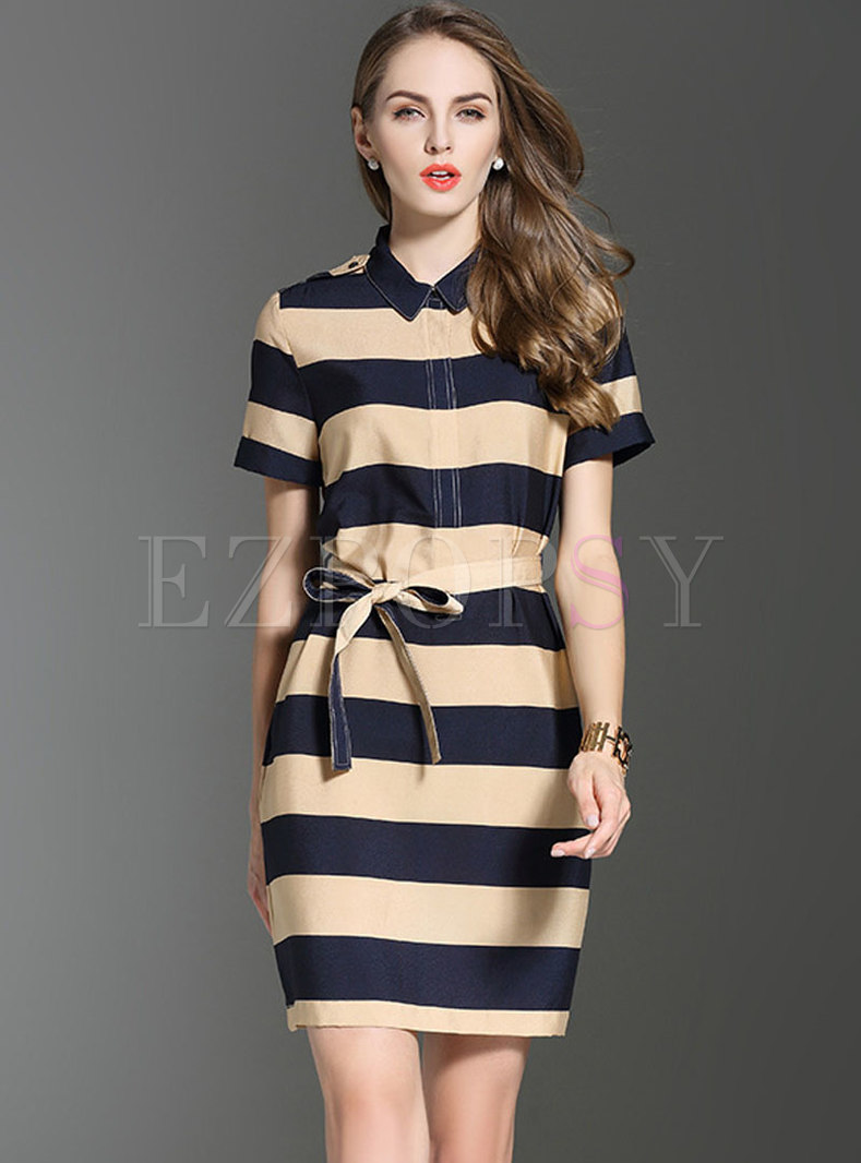 Stylish Turn-down Collar Striped Tied Bodycon Dress