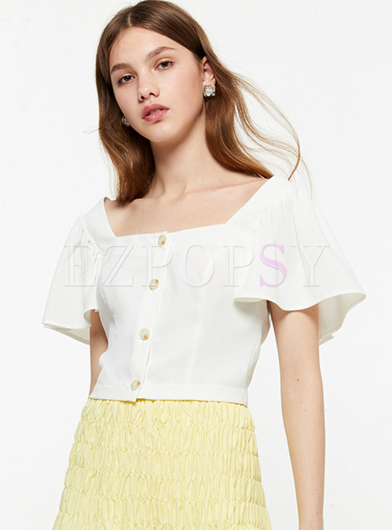 Solid Color Backless Single-breasted Slim Blouse