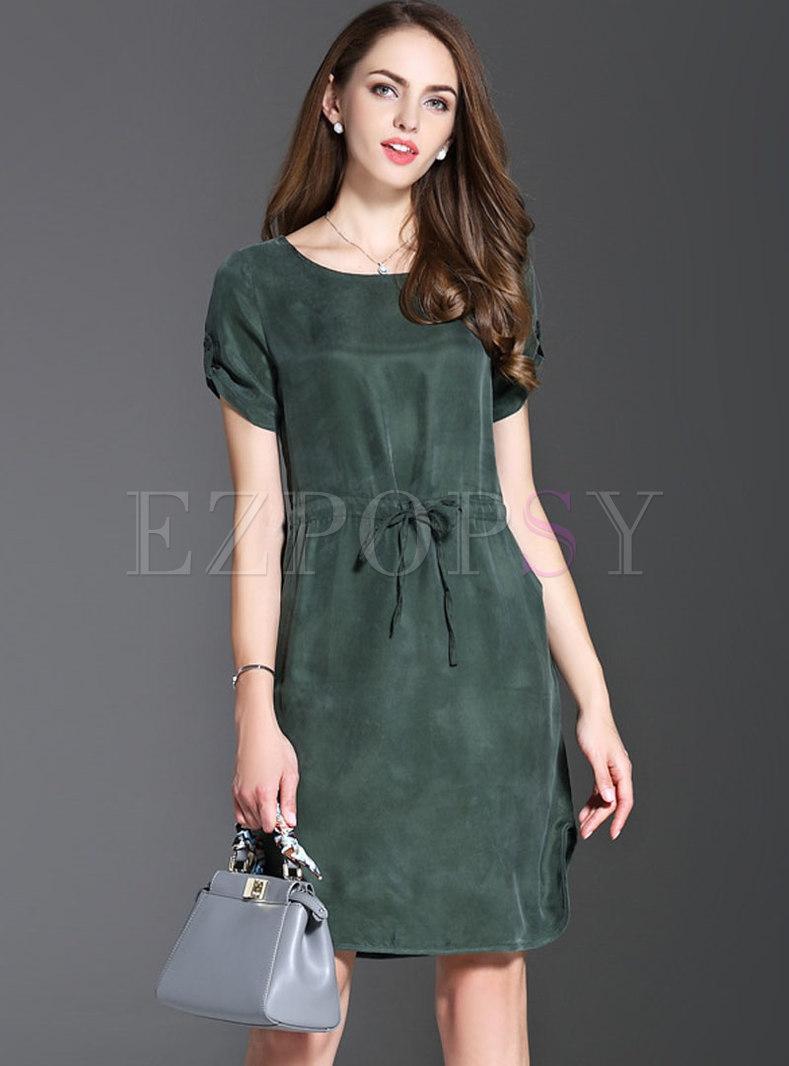 Brief Pure Color O-neck Silk Tied Sheath Dress