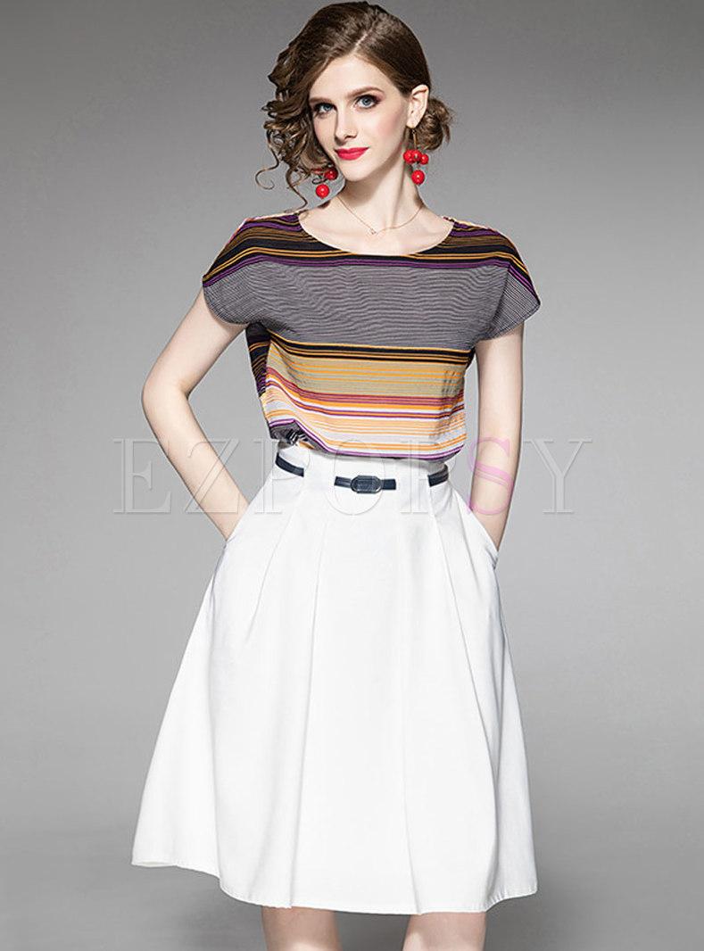 Stylish Striped T-shirt & Vintage Waist A Line Skirt