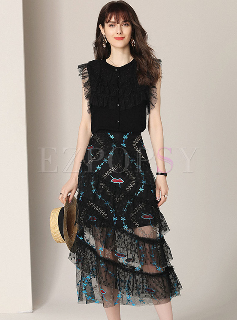 Chic Sleeveless Knitted Top & Embroidered Mesh Skirt