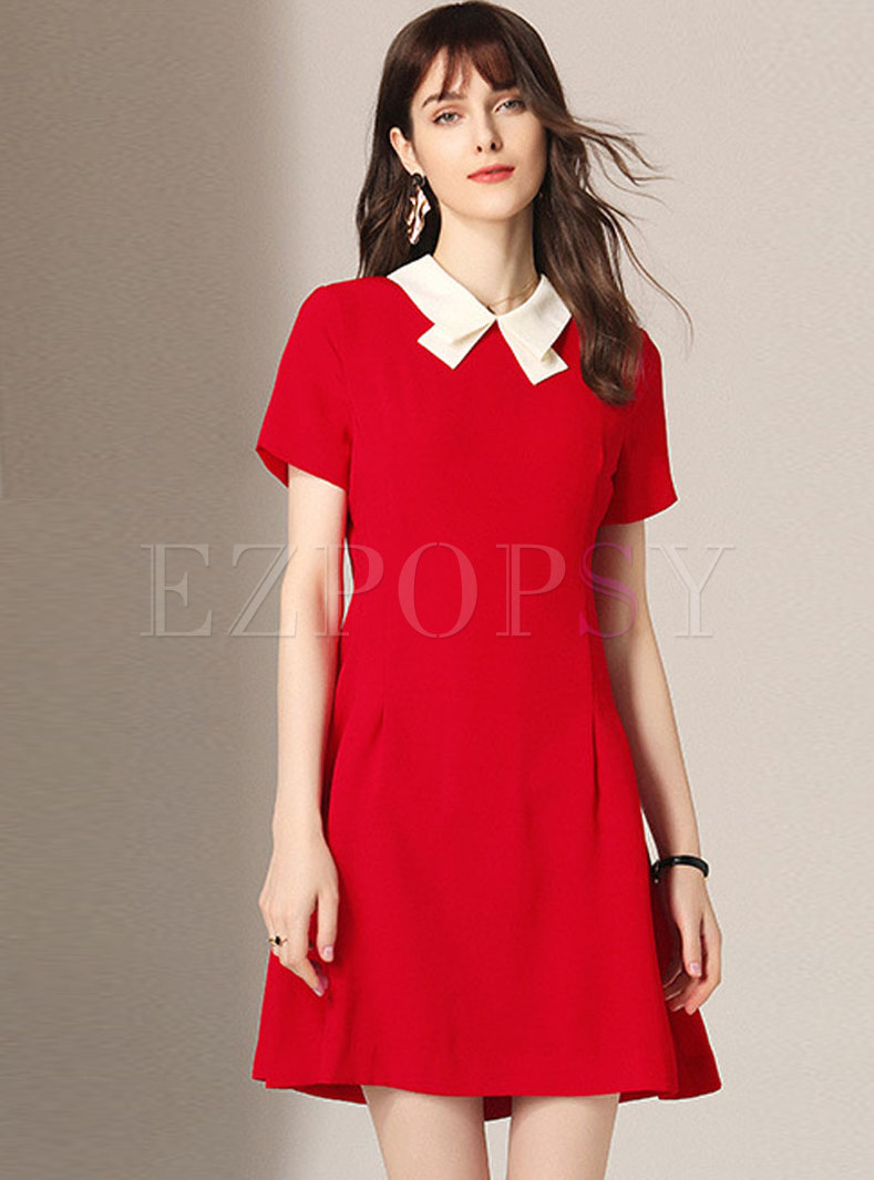 Summer Red Sweet Doll Collar A Line Dress