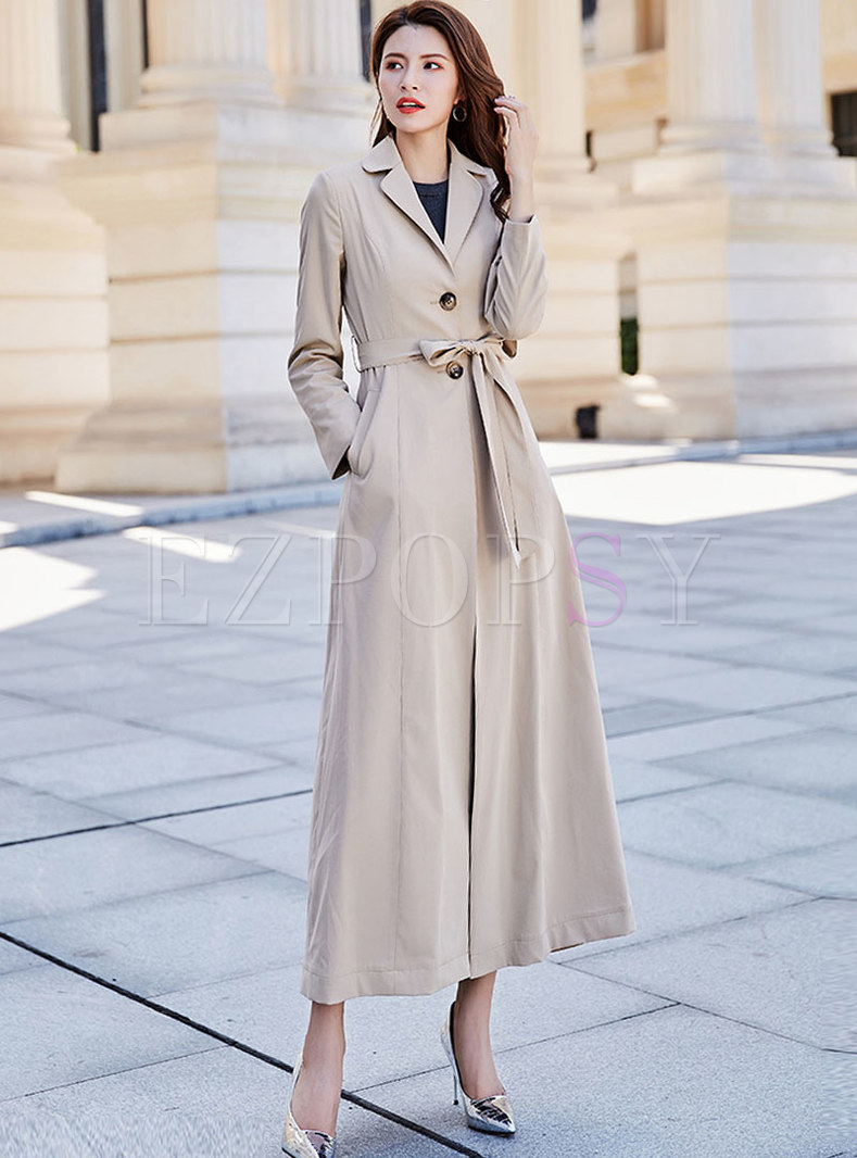 Solid Color Waist Slim Trench Coat