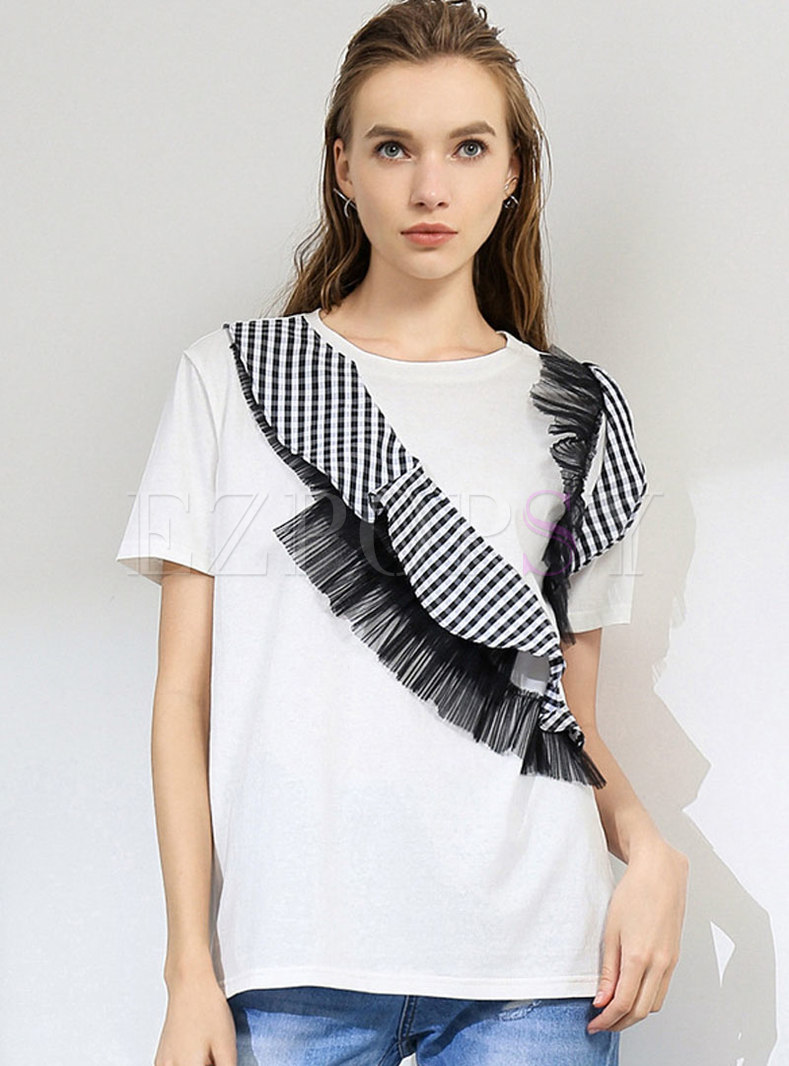 Chic Plaid Mesh Splicing Pullover T-shirt
