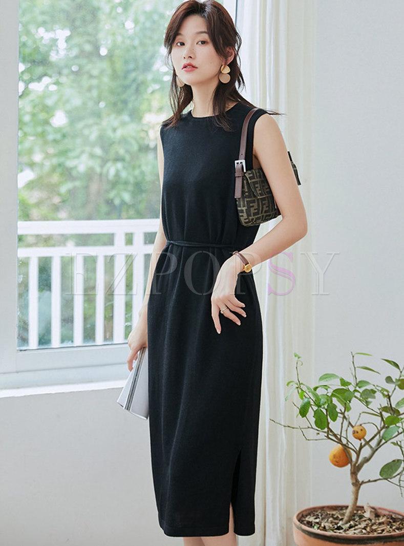 Brief O-neck Sleeveless Waist Sheath Knitted Dress