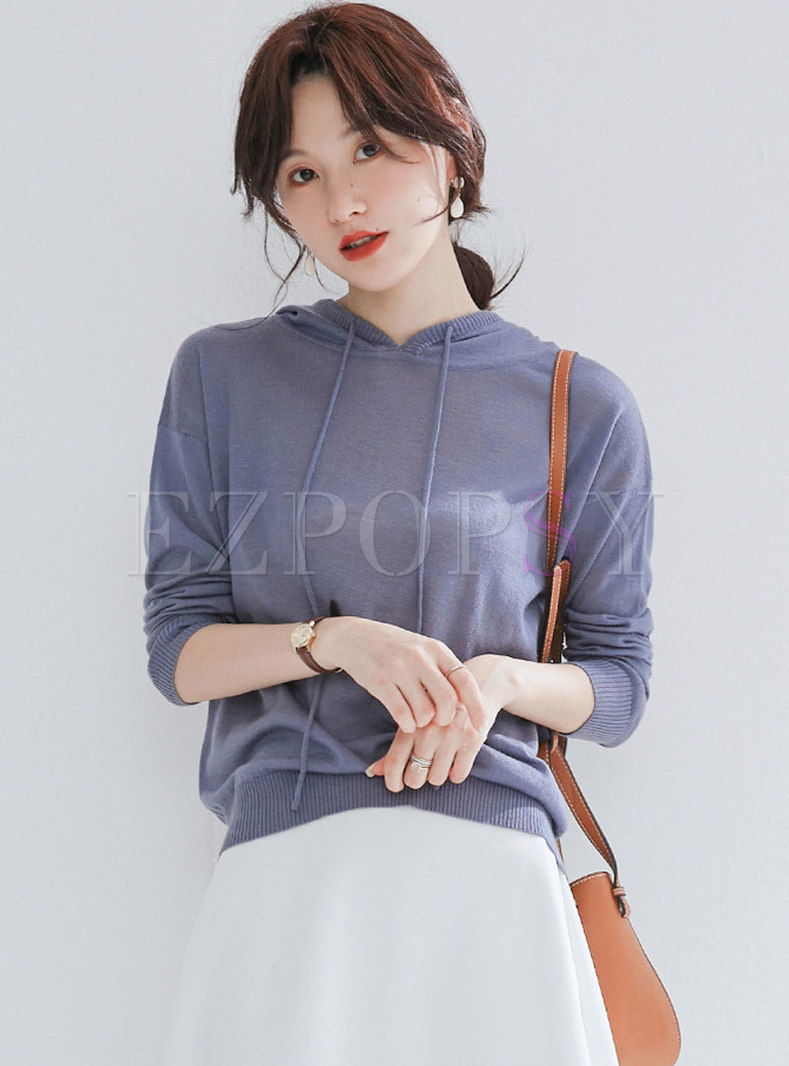 Stylish Pure Color Hooded Loose Pullover Sweater