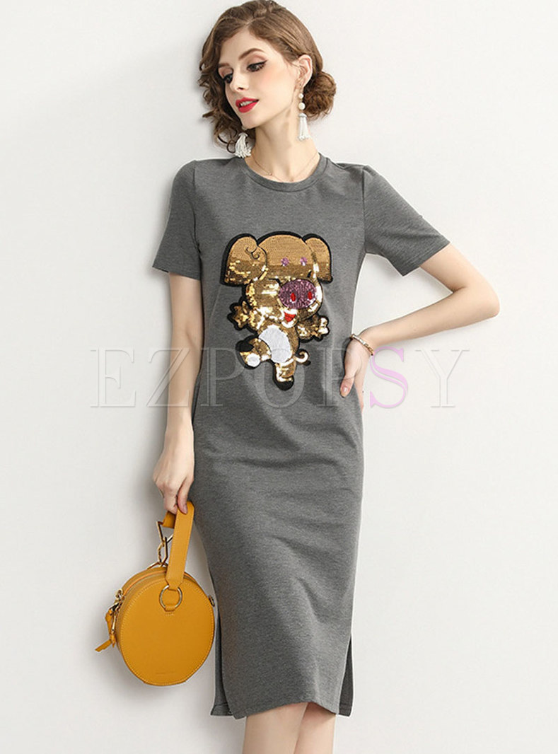 Brief Animal Sequined Grey Cotton T-shirt Dress