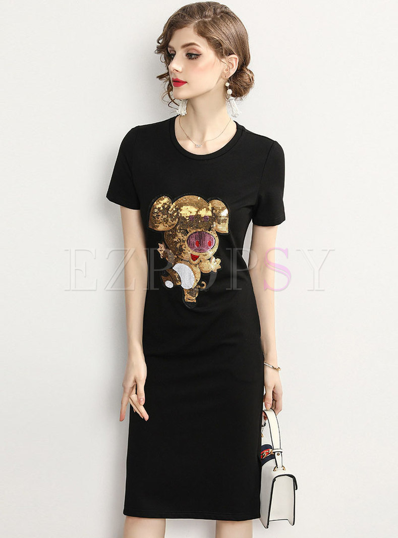 Brief Animal Sequined Black Cotton T-shirt Dress