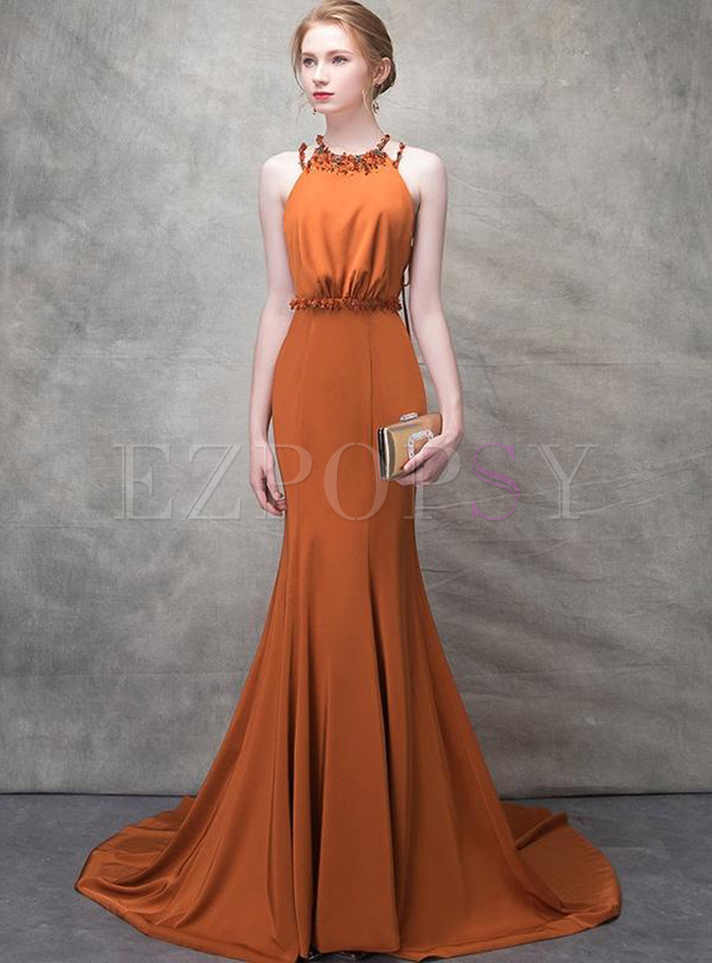 Flower Sequined Sashes Sleevesless High Waist Evening Dresses