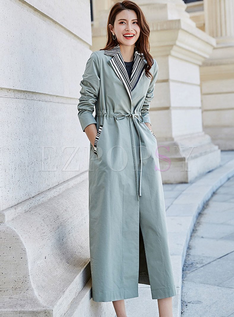Striped Splicing Tied Drawstring Trench Coat