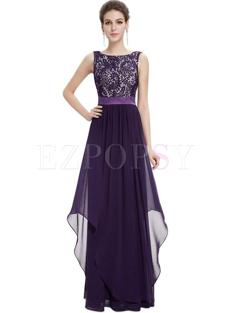 Lace Contrast Solid Color O-Neck Sleevesless Backless Maxi Dresses
