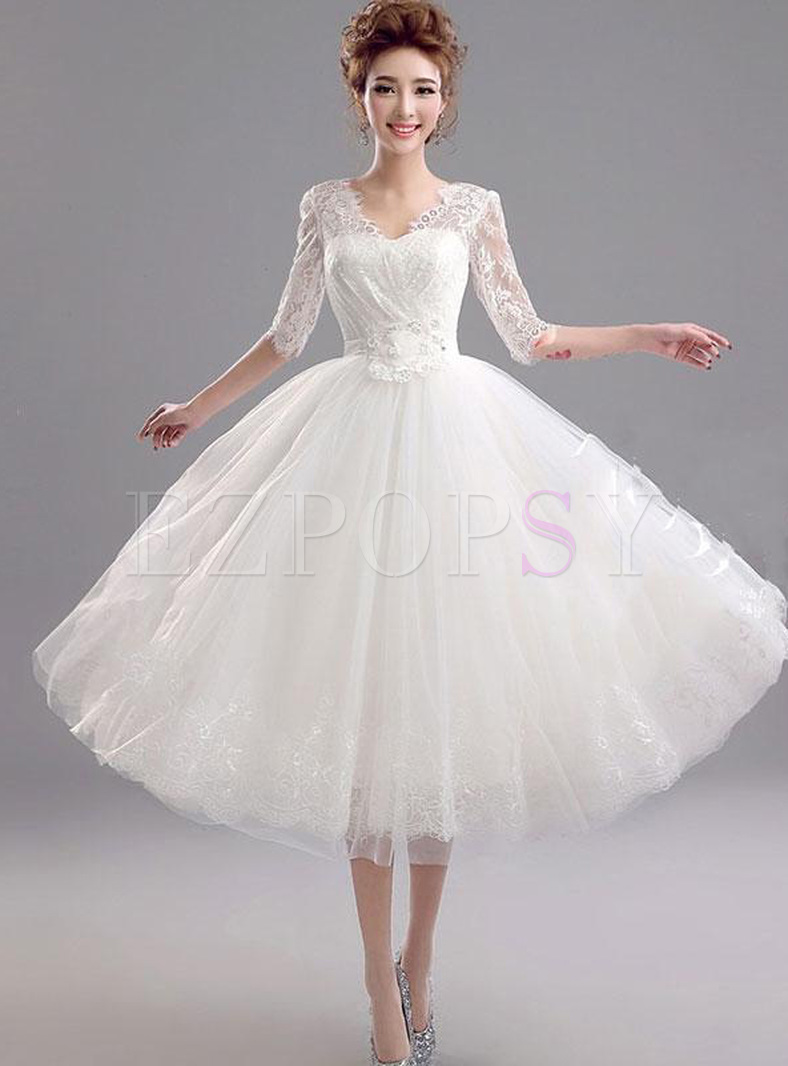 Sashes V-Neck Half Sleeves White Dresses