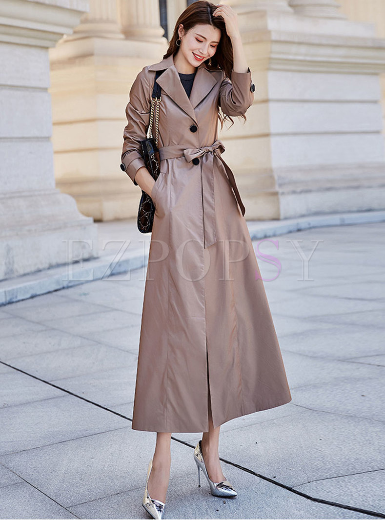 Solid Color Tied Single-breasted Trench Coat