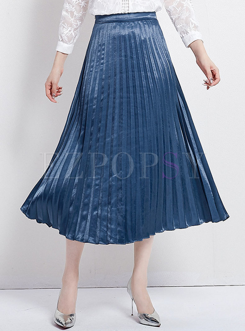 Casual Retro Pure Color High Waist Pleated Skirt