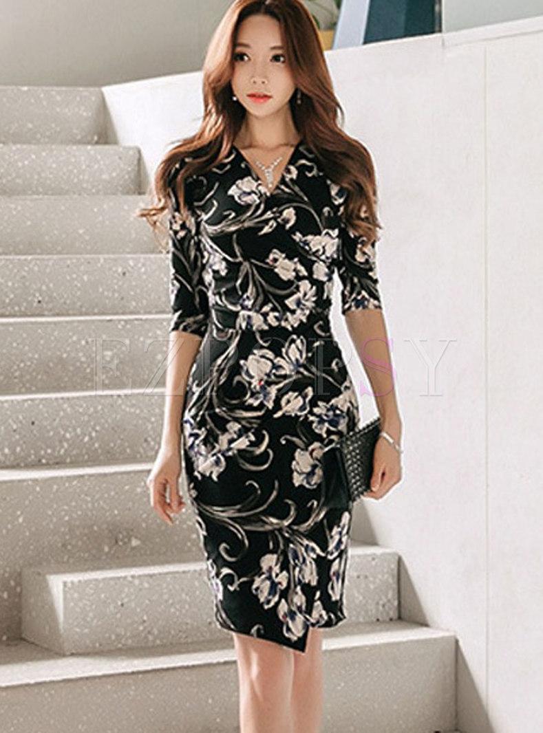 Fashion V-neck Multicolor Print Wrap Bodycon Dress